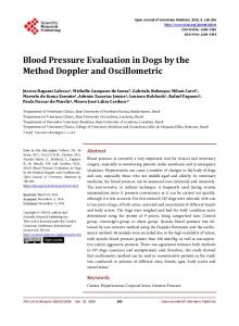 Blood Pressure Evaluation in Dogs by the Method