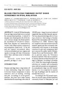 blood protozoa findings in pet dogs screened in ipoh, malaysia
