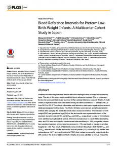 Blood Reference Intervals for Preterm Low-Birth-Weight Infants - Plos