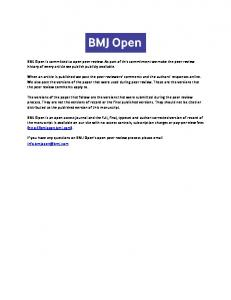 BMJ Open is committed to open peer review. As part