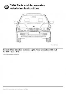 BMW Parts and Accessories Installation Instructions