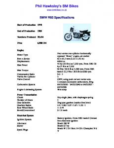 BMW R65 Specifications - BM Bikes