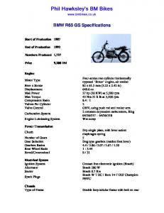 BMW R65GS Specifications - BM Bikes