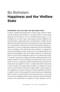 Bo Rothstein Happiness and the Welfare State