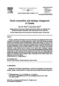 Board Composition and Earning Management in Canada (PDF ...