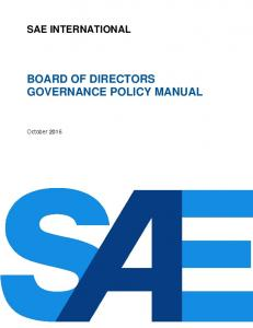 BOARD OF DIRECTORS GOVERNANCE POLICY MANUAL
