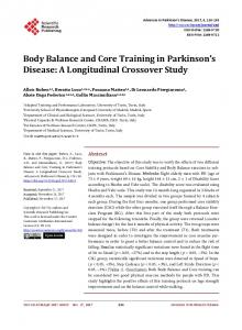 Body Balance and Core Training in Parkinson's Disease - Scientific ...