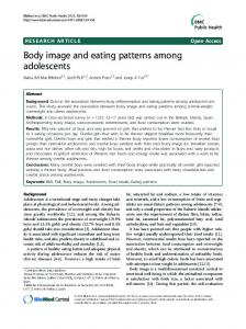 Body image and eating patterns among adolescents - CyberLeninka