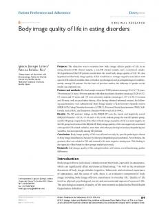 Body image quality of life in eating disorders - CiteSeerX