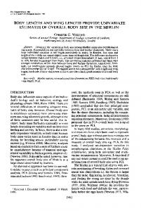 Body Length and Wing Length Provide Univariate Estimates of Overall ...