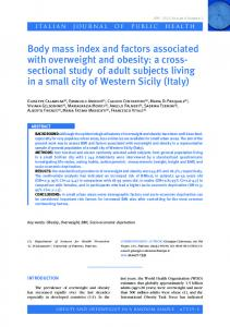 Body mass index and factors associated with overweight and obesity ...