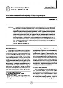 Body Mass Index and its Adequacy in Capturing Body Fat