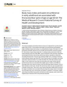 Body mass index and waist circumference in early adulthood ... - PLOS