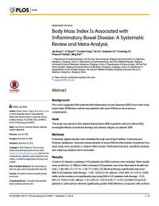 Body Mass Index Is Associated with Inflammatory ... - Semantic Scholar