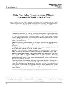 Body Mass Index Measurement and Obesity Prevalence in Ten U.S. ...