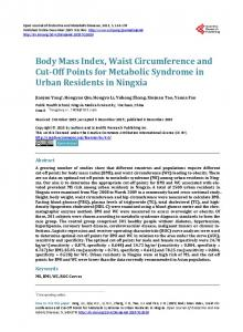 Body Mass Index, Waist Circumference and Cut-Off Points for ...