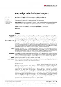 Body weight reduction in combat sports