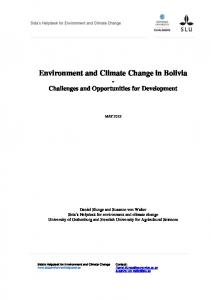 Bolivia Environmental and Climate Change Policy Brief
