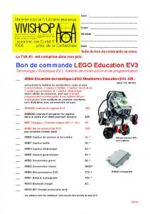 Bon de commande LEGO Education EV3 - Vivishop