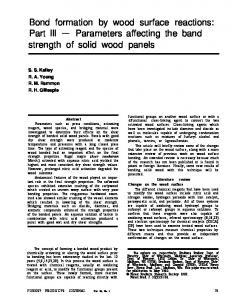 Bond formation by wood surface reactions - Forest Products Laboratory