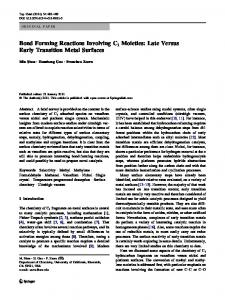 Bond Forming Reactions Involving C1 Moieties: Late ... - Springer Link