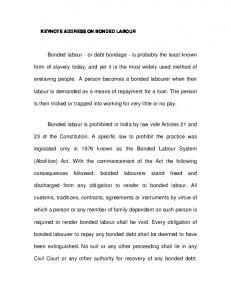 Bonded labour - National Human Rights Commission