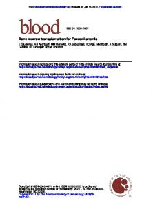 Bone marrow transplantation for Fanconi anemia