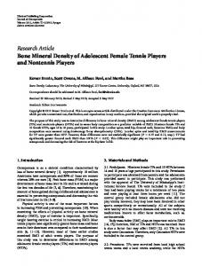 Bone Mineral Density of Adolescent Female Tennis Players and