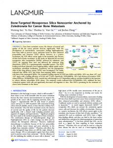 Bone Targeted Mesoporous Silica Nanocarrier ... - ACS Publications