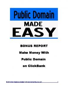 BONUS REPORT Make Money With Public Domain on ClickBank