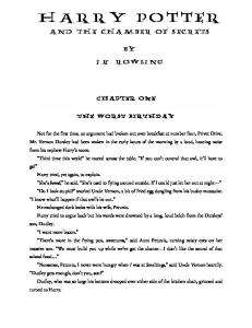 book 2 – harry potter and the chamber of secrets - Just a few drafts...