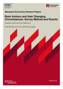 Book Authors and their Changing Circumstances - Macquarie University