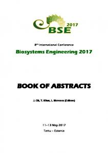 book of abstracts - Biosystems Engineering 2017