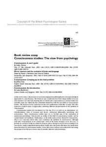 Book review essay Consciousness studies: The view from psychology