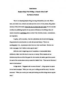 """Book Review of Stephen King's """"On Writing: A Memoir of the Craft"""""""