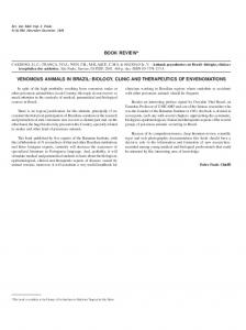 book review* venomous animals in brazil: biology, clinic ... - Scielo.br