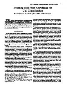 Boosting with Prior Knowledge for Call Classification - Semantic Scholar
