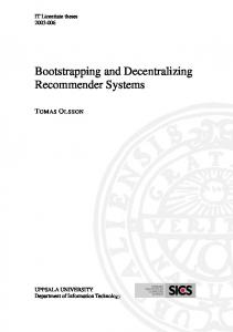 Bootstrapping and Decentralizing Recommender Systems