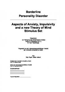 Borderline)) Personality)Disorder) Aspects)of)Anxiety