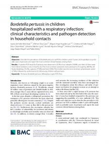 Bordetella pertussis in children hospitalized with a