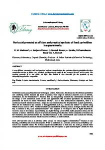 Boric acid promoted an efficient and practical synthesis of fused ...