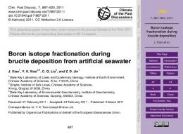 Boron isotope fractionation during brucite deposition - CiteSeerX
