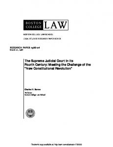 BOSTON COLLEGE LAW The Supreme Judicial Court in its ... - SSRN