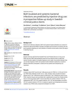 Both localized and systemic bacterial infections are predicted ... - PLOS
