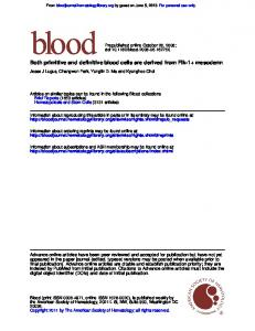 Both primitive and definitive blood cells are derived ...