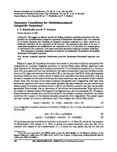 Boundary Conditions for Multidimensional Integrable ... - Springer Link