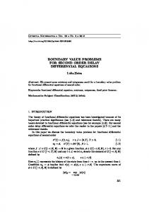 BOUNDARY VALUE PROBLEMS FOR SECOND ORDER ... - Core