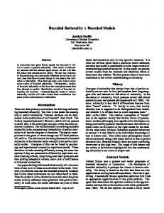 Bounded Rationality :: Bounded Models - UBC Computer Science