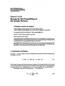 Bounds for Tail Probabilities of the Sample Variance - EMIS