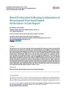 Bowel Perforation Following Continuation of Bevacizumab Post Nasal ...